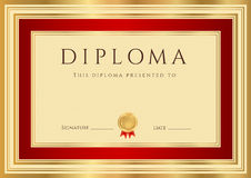 Diplom-/Zertifikatschablone mit roter Grenze Stockbild