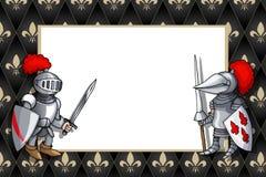 Horizontales Feld mit Ritter mit Klinge und Schild auf dem mittelalterlichen Hintergrund
