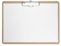 Horizontales Klemmbrett mit unbelegtem Weißbuch. Stockfotografie