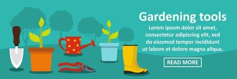 Horizontales Konzept der Gartenarbeitwerkzeug-Fahne Lizenzfreies Stockbild