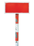 Horizontales Metall des roten handgemalten Warnzeichen-Brettes des Verbots Lizenzfreies Stockfoto