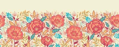 Horizontales nahtloses der bunten vibrierenden Blumen vektor abbildung