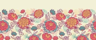 Horizontales nahtloses der Pfingstrosenblumen und -blätter Stockbild
