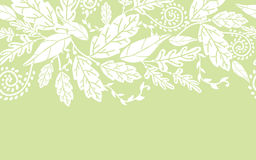 Horizontales nahtloses der weißen Blumen und der Blätter Stockbild