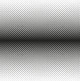 Horizontales nahtloses Halbton von Quadraten verringert sich auf Rand, auf weißem Hintergrund Contrasty Halbtonhintergrund Vektor Stockbild