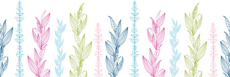 Horizontales nahtloses Muster der Blumenstreifen stock abbildung