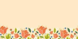 Horizontales nahtloses Muster der bunten Frühlingstulpen Stockfotografie