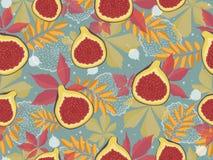 Horizontales nahtloses Muster mit Feigen und Herbstlaub Lizenzfreies Stockfoto