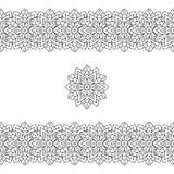 Horizontales schwarzes nahtloses ethnisches Muster oder Stammes- Muster Stockfoto