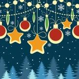 Horizontales Weihnachtsnahtloses Retro- Muster Lizenzfreie Stockfotografie