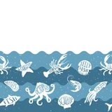 Horizontales wiederholendes Muster mit Meeresfrüchteprodukten Nahtlose Fahne der Meeresfrüchte mit Unterwassertieren Lizenzfreie Stockbilder