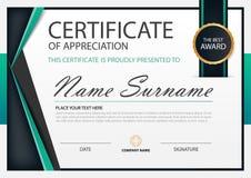 Horizontales Zertifikat der grünen Eleganz mit Vektorillustration, weiße Rahmenzertifikatschablone mit sauberem und modernem Must Stockbild