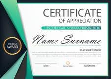 Horizontales Zertifikat grüner Aufkleber Eleganz mit Vektorillustration, weiße Rahmenzertifikatschablone mit sauberem und moderne Lizenzfreies Stockbild