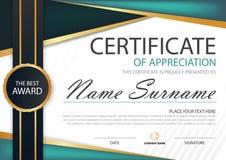 Horizontales Zertifikat grüner schwarzer Aufkleberzusammenfassung Eleganz mit Vektorillustration, weiße Rahmenzertifikatschablone Lizenzfreie Stockbilder