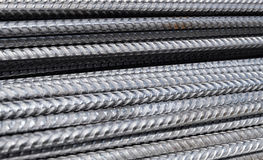 Horizontally aligned division rebar - steel rods from a construction site Royalty Free Stock Photography