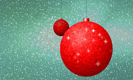 Horizontally banner or card with red christmas decoration Royalty Free Stock Photos