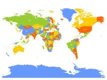 Horizontally flipped political map of World. Mirror reflection. Vector illustration Royalty Free Stock Photo