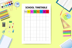 Horizontally oriented vector with school timetable Stock Photography