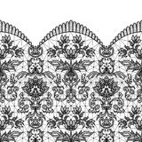 Seamless black lace. Horizontally seamless black lace border background with floral pattern isolated on white Royalty Free Stock Images