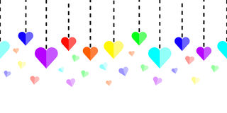 Horizontally seamless rainbow hearts with dashed lines on white background. Vector royalty free illustration