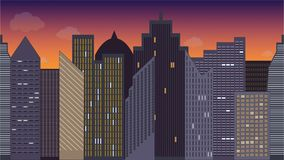 Horizontally seamless vector illustration of cityscape. Night. Colorful. Panoramic view. vector illustration