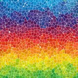 Horizontally striped rainbow marble irregular plastic stony mosaic pattern texture background with gray grout - f Stock Photos