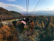 Horizontansicht von der Drahtseilbahn Stockfotos
