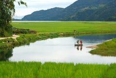 Horizontaux de lac de fewa, pokhara, Népal images stock