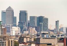Horizonte aéreo del negocio de Canary Wharf, Londres Fotografía de archivo libre de regalías