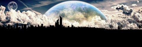 Horizonte abstracto artístico del planeta en ilustraciones de la sombra de la ciudad stock de ilustración