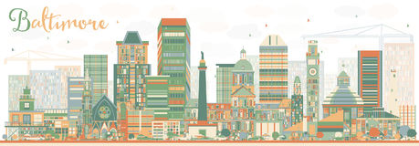 Horizonte abstracto de Baltimore con los edificios del color Fotos de archivo