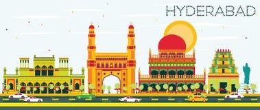 Horizonte abstracto de Hyderabad con las señales del color ilustración del vector