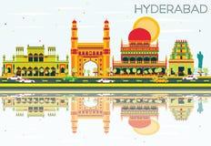 Horizonte abstracto de Hyderabad con las señales y las reflexiones del color stock de ilustración