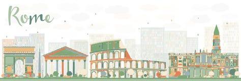 Horizonte abstracto de Roma con las señales del color