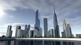 Horizonte animado de una ciudad moderna 4K stock de ilustración