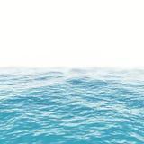 Horizonte azul da superfície da água do mar com profundidade dos efeito de campo ilustração 3D Foto de Stock