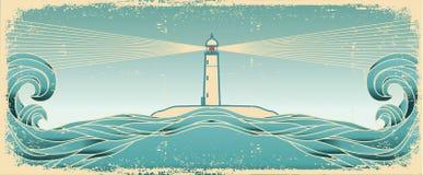 Horizonte azul do seascape. Imagem do grunge do vetor ilustração stock