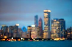 Horizonte borroso del paisaje urbano del extracto de Chicago del bokeh fotografía de archivo