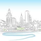 Horizonte céntrico de Chicago ilustración del vector