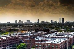 Horizonte céntrico de los edificios de highrise de Houston Fotos de archivo libres de regalías