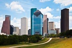 Horizonte céntrico del paisaje urbano de Houston Tejas Fotos de archivo libres de regalías