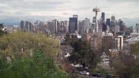 Horizonte céntrico 4K UHD de Seattle almacen de metraje de vídeo