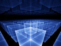 Horizonte cúbico azul ilustração stock