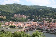 Horizonte, castillo y río de Heidelberg foto de archivo