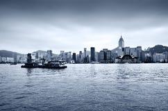 Horizonte central del districto de Hong-Kong Fotos de archivo libres de regalías