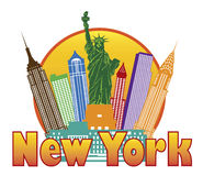 Horizonte colorido de New York City en el vector IL del círculo