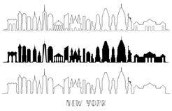 Horizonte con la arquitectura histórica de Nueva York stock de ilustración
