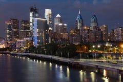 Horizonte crepuscular de Philadelphia Fotos de archivo libres de regalías