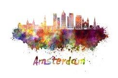 Horizonte de Amsterdam V2 en acuarela Foto de archivo