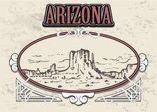 Horizonte de Arizona, los E.E.U.U., en un marco decorativo del vintage ilustración del vector
